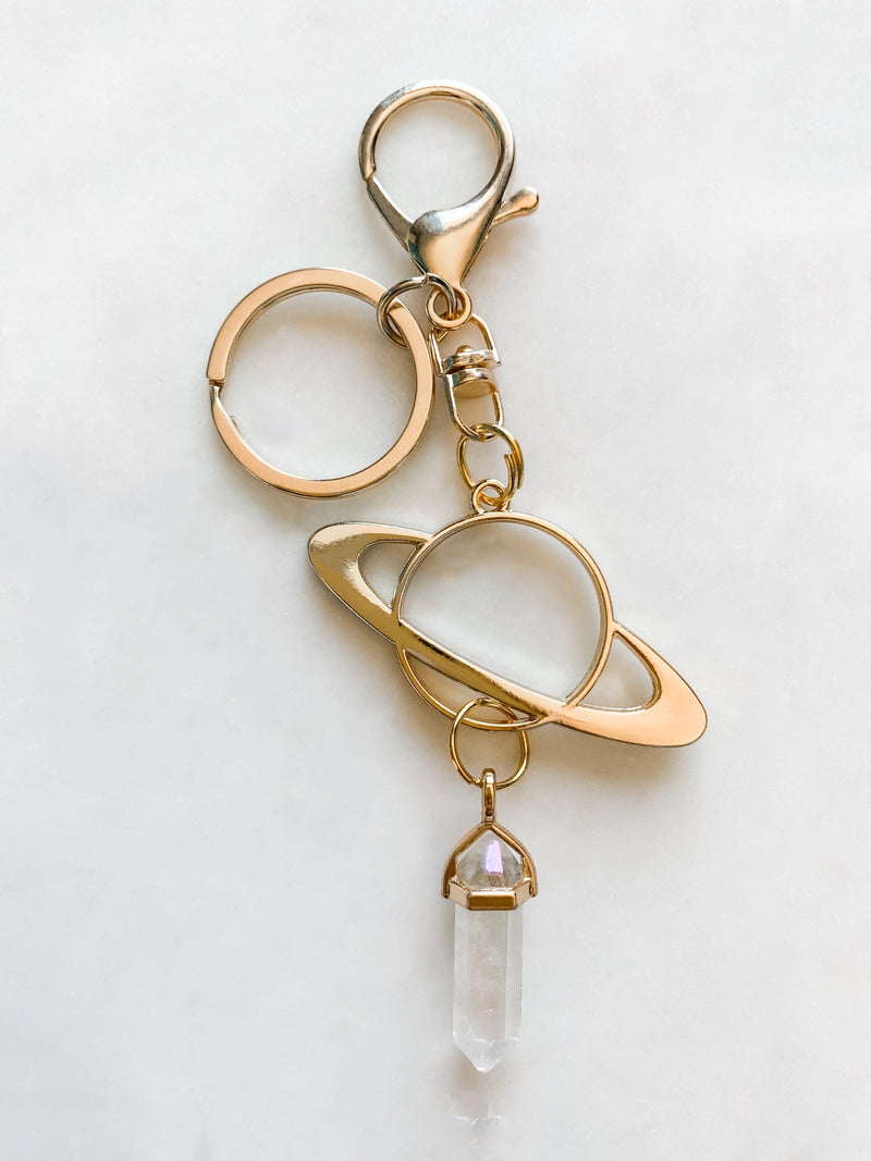 Saturn and Quartz Keychain - The Pretty Eclectic