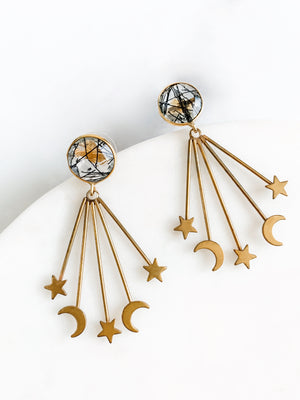 Shoot For The Stars - Rutilated Quartz Earrings