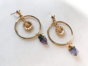 Flower & Tanzanite Earrings - The Pretty Eclectic