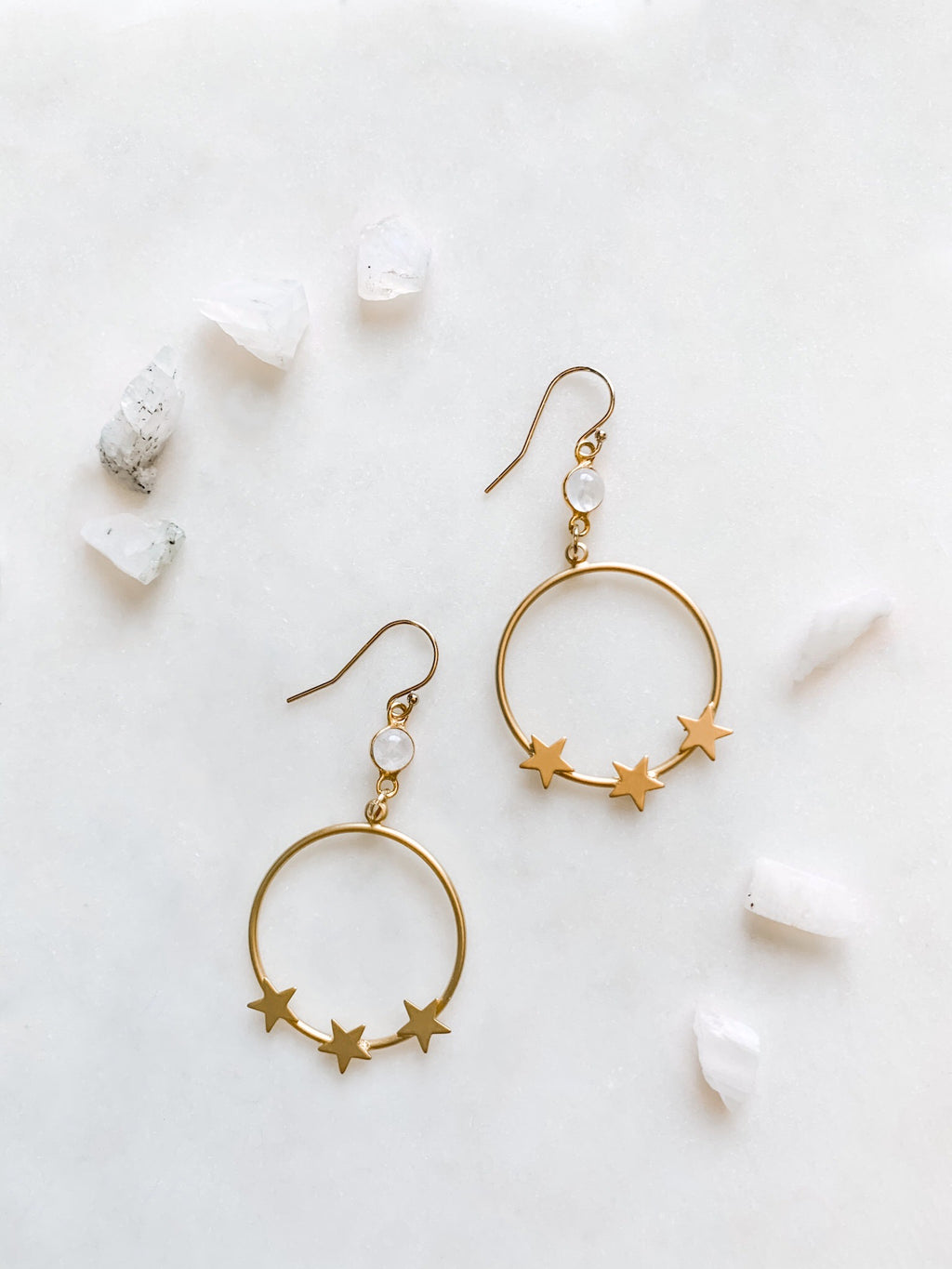 Star Hoop Earrings with Moonstone - The Pretty Eclectic