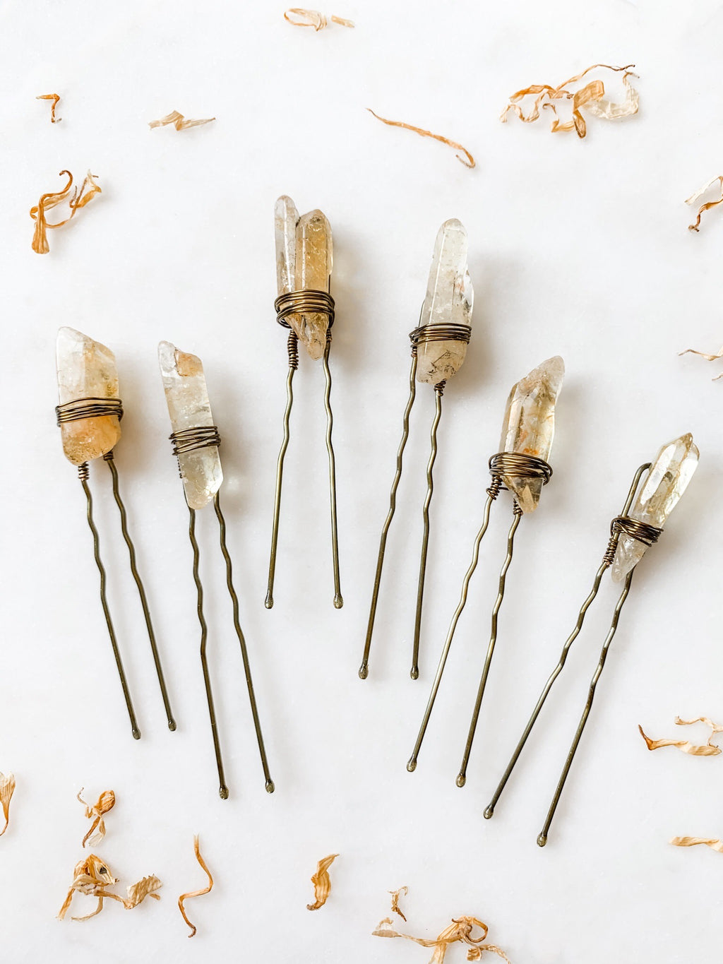 Yellow Quartz Hair Pin Set