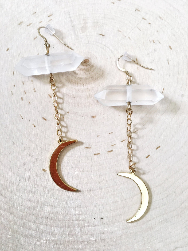 Quartz Crescent Moon Chain - The Pretty Eclectic