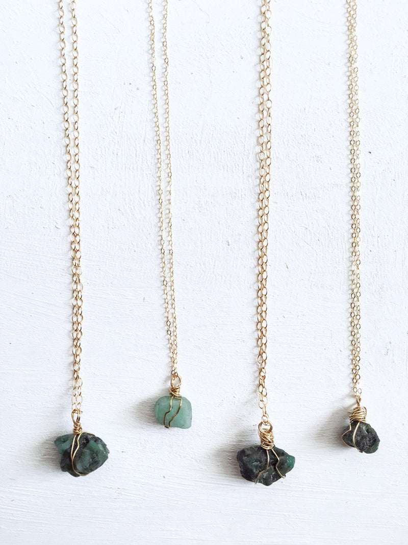Raw Emerald Necklace - The Pretty Eclectic