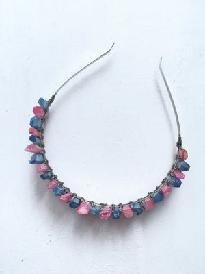 pink and blue quartz crown