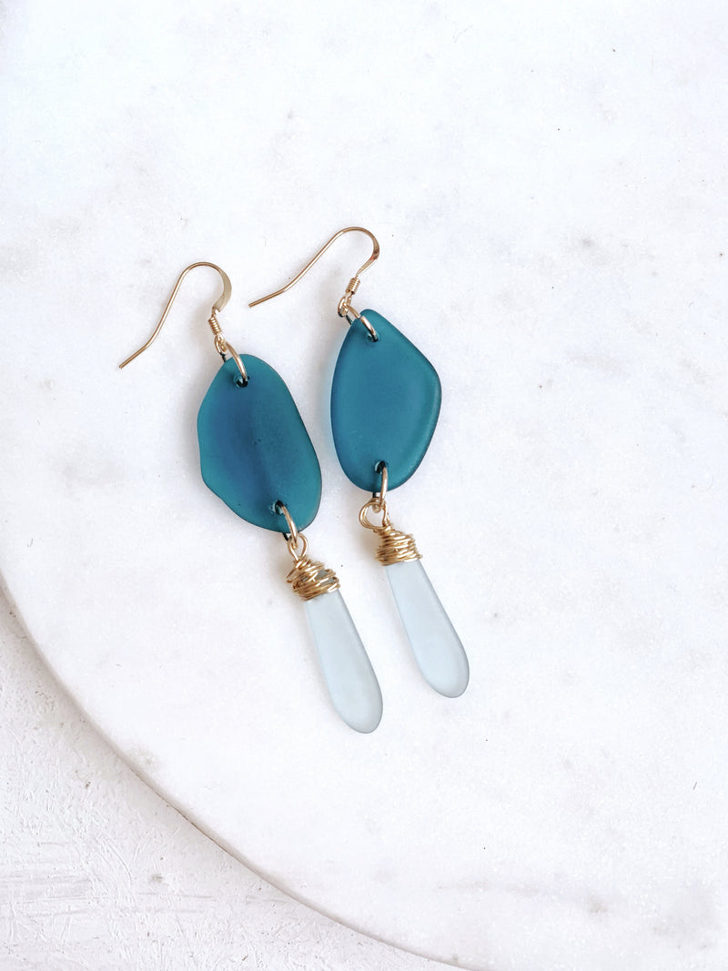 Blue Sea Glass Earrings