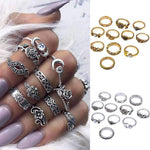 11pcs/Set Women Bohemian Vintage Silver Stack Ring-Rings-Amboo MarKt Store