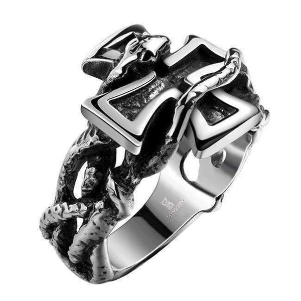 2017 Classic Retro Punk Style Men's Cross Ring-Rings-Amboo MarKt Store