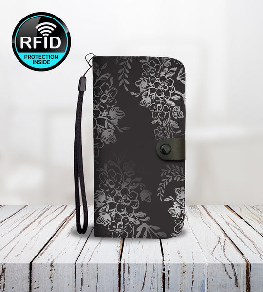 Black and White Wallet Phone Case with Flowers-Wallet Case-Amboo MarKt Store
