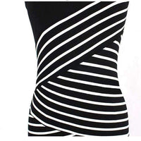 Casual Short Sleeve Top Striped Bodycon Pencil Dress-Dresses-Amboo MarKt Store