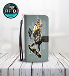Cool Monkey Riding Skateboard Wallet Phone Case-Wallet Case-Amboo MarKt Store