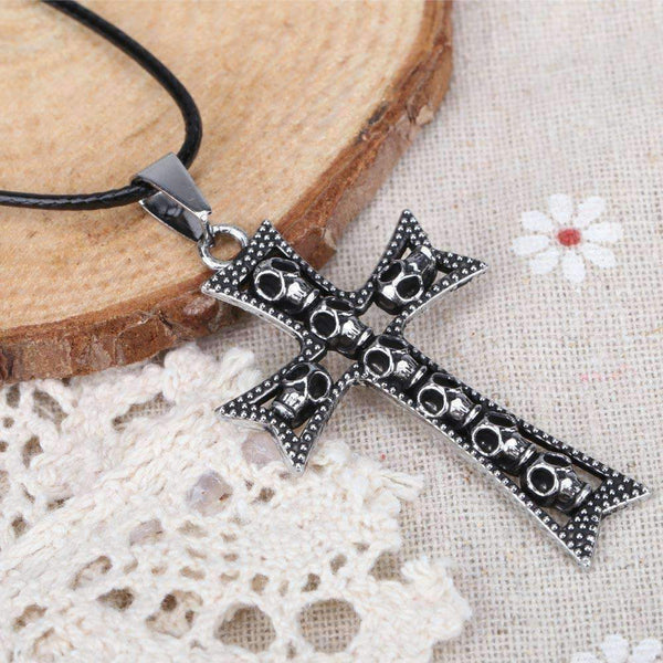 Cool Punk Style Skull Cross Pendant Necklace-Necklaces & Pendants-Amboo MarKt Store