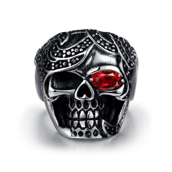 Cool Punk Style Skull Finger Ring with Zircon for Men-Rings-Amboo MarKt Store