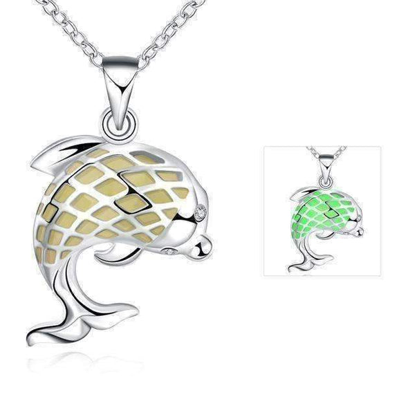 Cute Phosphors Dolphin Pendant Necklace-Necklaces & Pendants-Amboo MarKt Store