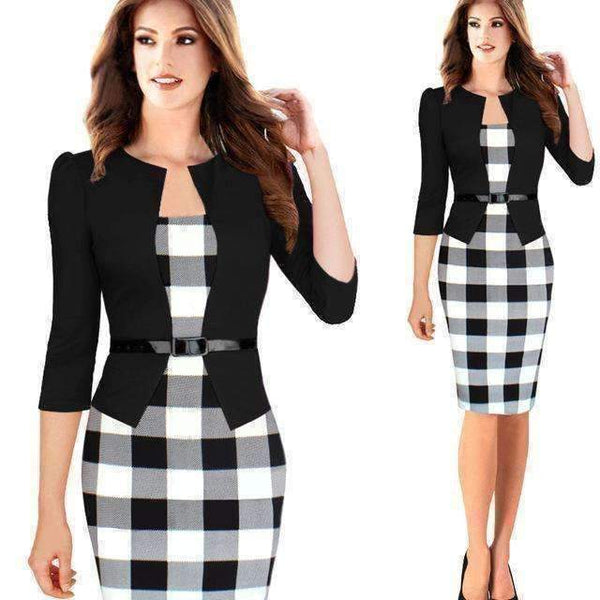 Elegant Casual Bodycon Sheath Office Dress-Dresses-Amboo MarKt Store