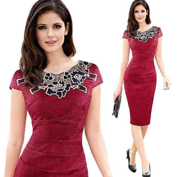 Elegant Vintage Embroidery Pencil Bodycon Dress-Dresses-Amboo MarKt Store