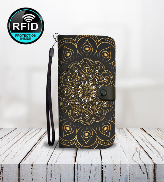 Elegant Wallet Phone Case with Golden Mandala-Wallet Case-Amboo MarKt Store