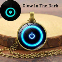 "Glow In The Dark ""Off Power Kill Switch"" Glass Cabochon Pendant Necklace-Necklaces & Pendants-Amboo MarKt Store"