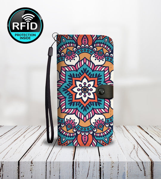 Hand Drawn Mandala Wallet Phone Case-Wallet Case-Amboo MarKt Store