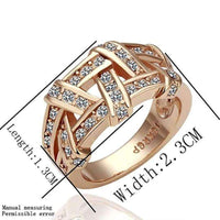 Hot Sale Gold Color Hollow Finger Ring With CZ Crystal-Rings-Amboo MarKt Store