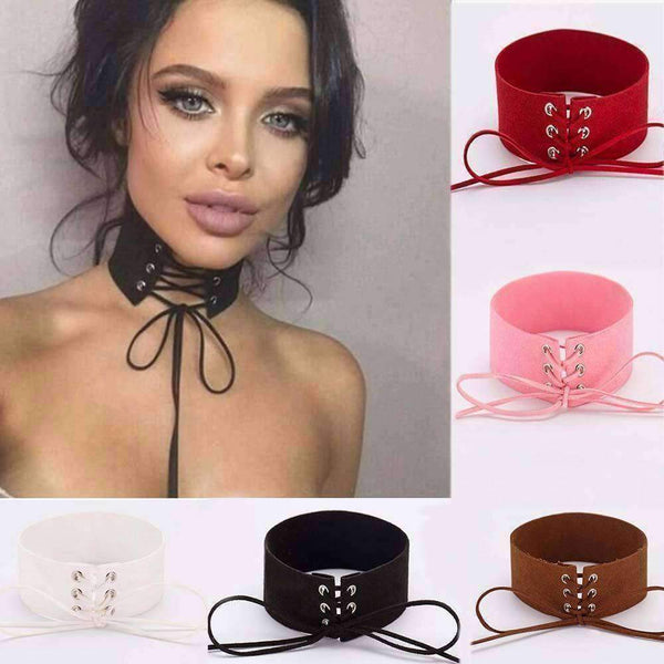 Hot Sale Lace Up Women Jewelry Punk Gothic Choker Necklace-Necklaces & Pendants-Amboo MarKt Store