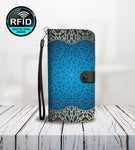 Luxury Blue Wallet Phone Case with Mandala Decoration-Wallet Case-Amboo MarKt Store