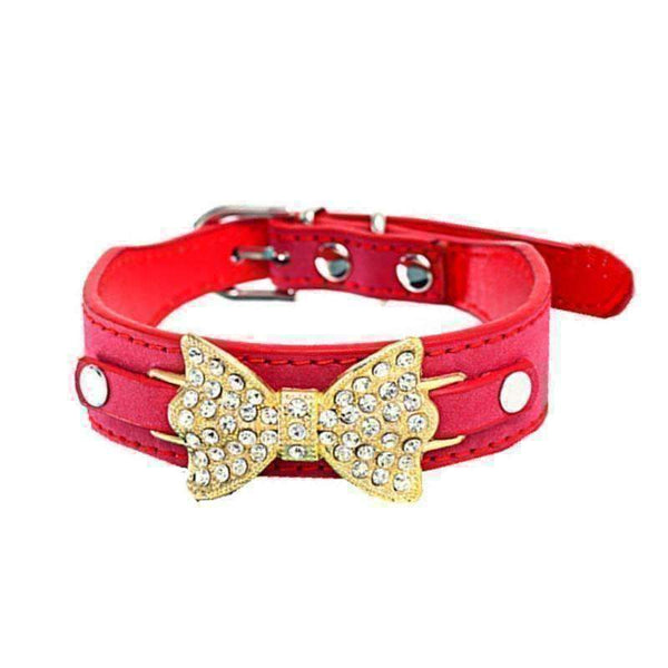 Pet Dog Puppy Cat Bling Crystal With Leather Bow Necklace-Pet Dog Puppy Cat Collar-Amboo MarKt Store