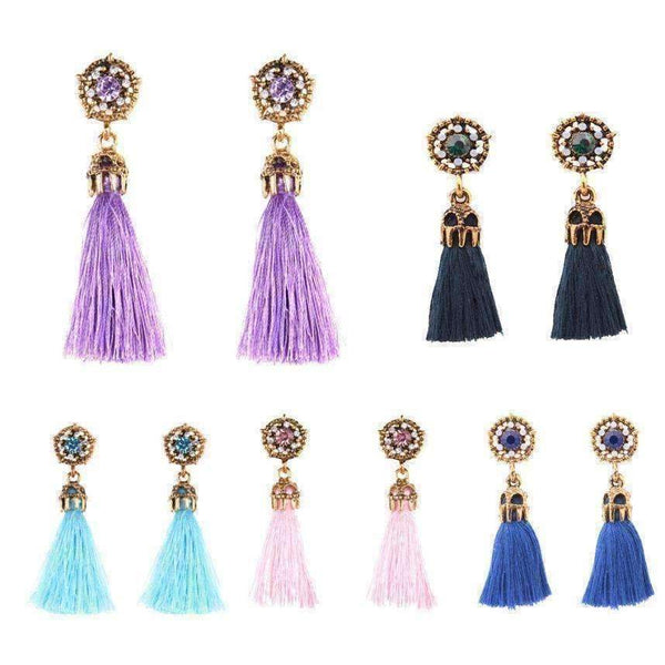 Vintage Court Style Baroque Crystal Hollow Short Tassel Earring-Earrings-Amboo MarKt Store