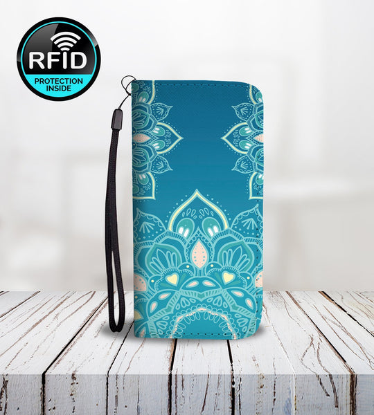 Wallet Phone Case with Hand Drawn Mandalas-Wallet Case-Amboo MarKt Store