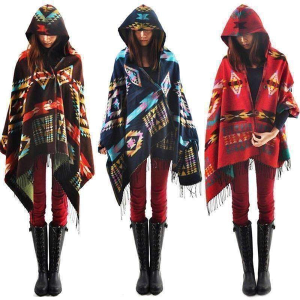 Women Fashion Geometric Design Boho Hoodie-Hoodies & Sweatshirts-Amboo MarKt Store