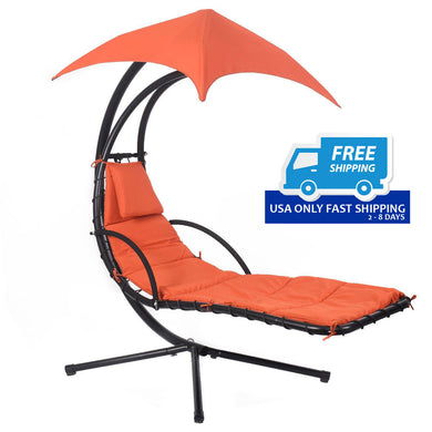 Hanging Chaise Lounge Chair with Canopy - bychoiceproducts