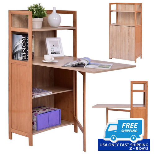 2-in-1 Convertible Wood Folding Desk Cabinet with Bookshelf