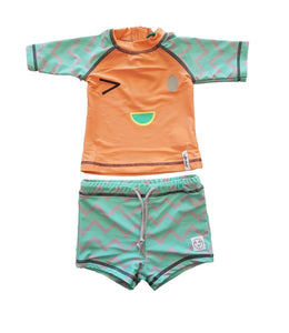 6d04a95932061 INDIKIDUAL Unisex Girls & Boys Orange and Blue Face Print 2 Piece Coral Swim  Costume Set