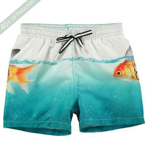 3e548d436e329 MOLO Baby Boys Designer Swim Trunks Turquoise Scary Gold Fish Swim Shorts