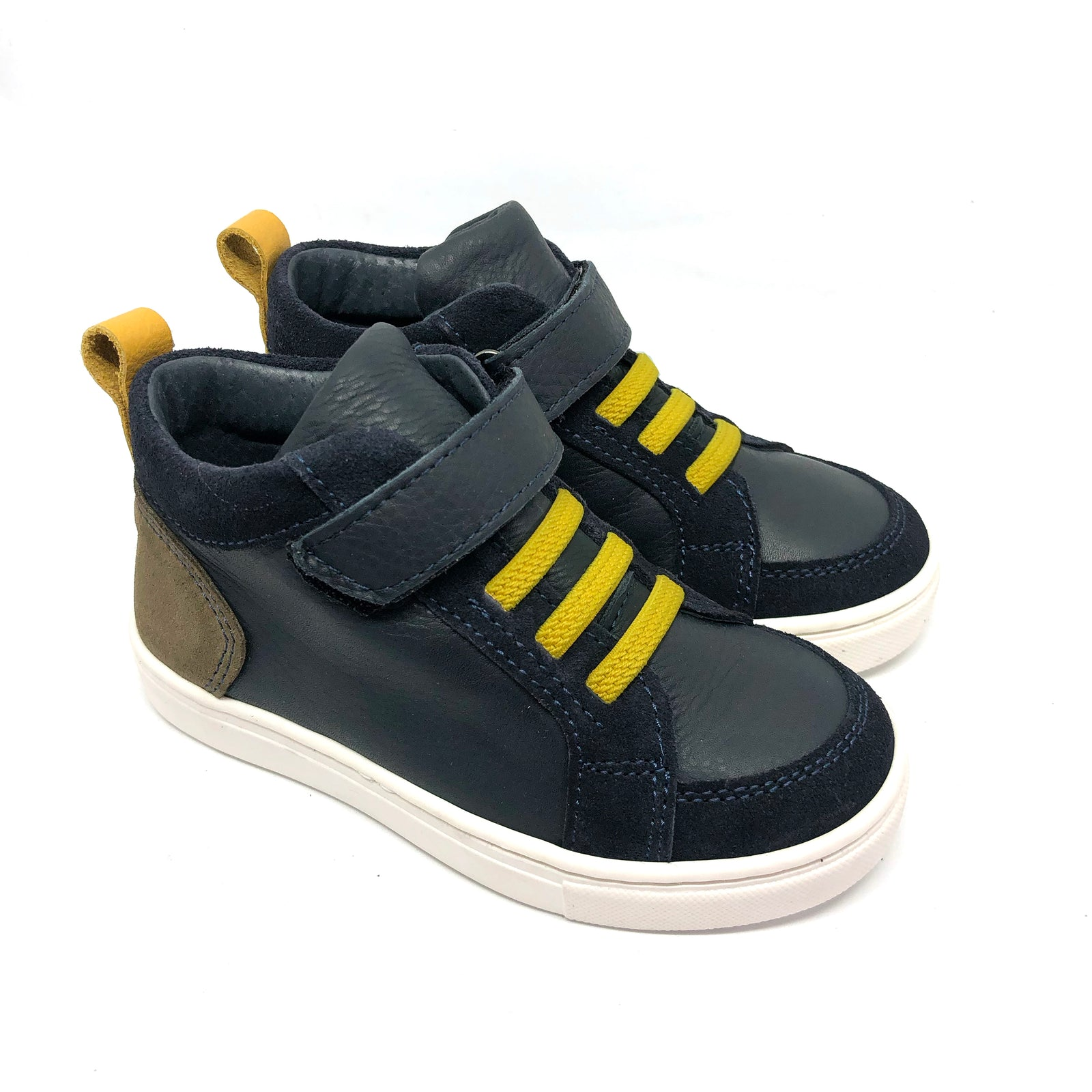 Leo High Top Trainers Navy + Yellow