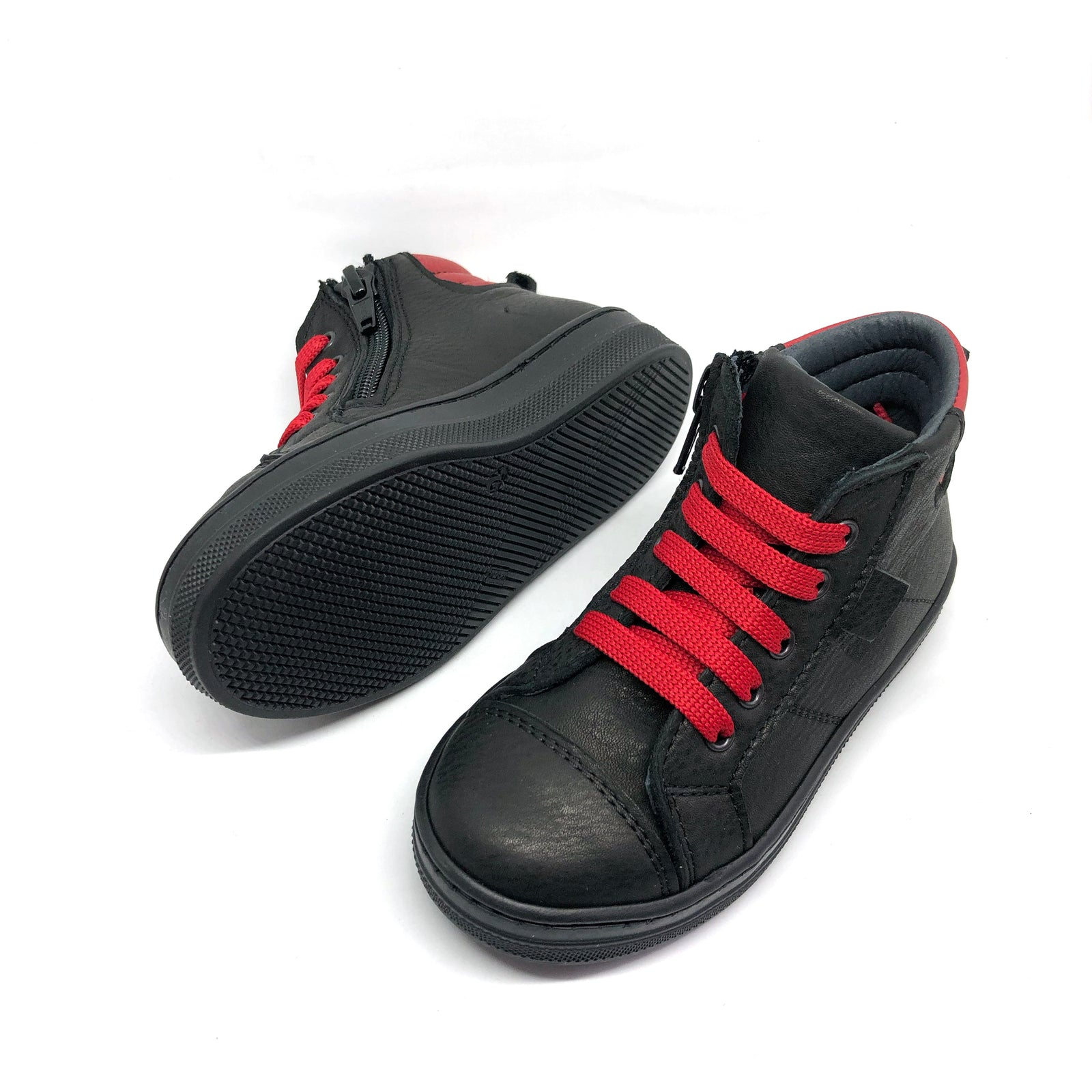 Charlie High Top Trainers Black + Red