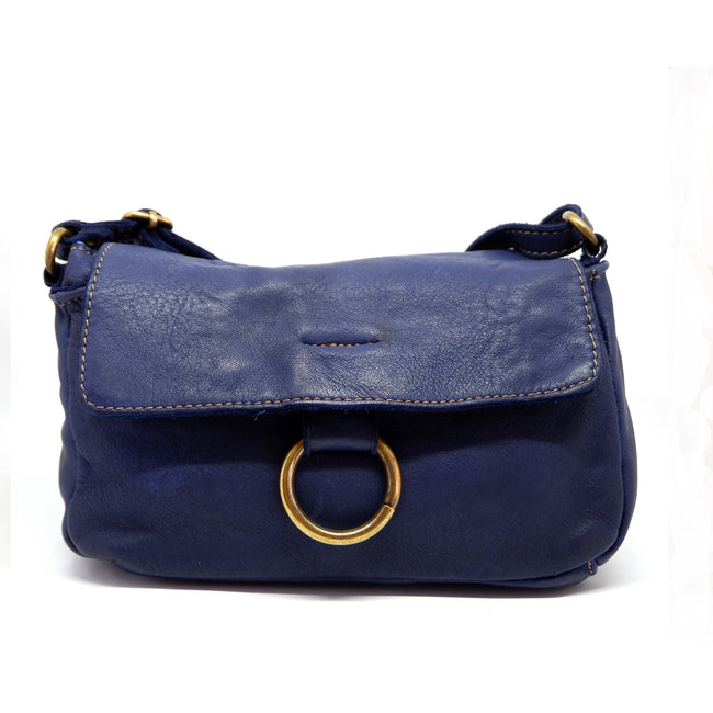 Cross Body Leather Bag Blue