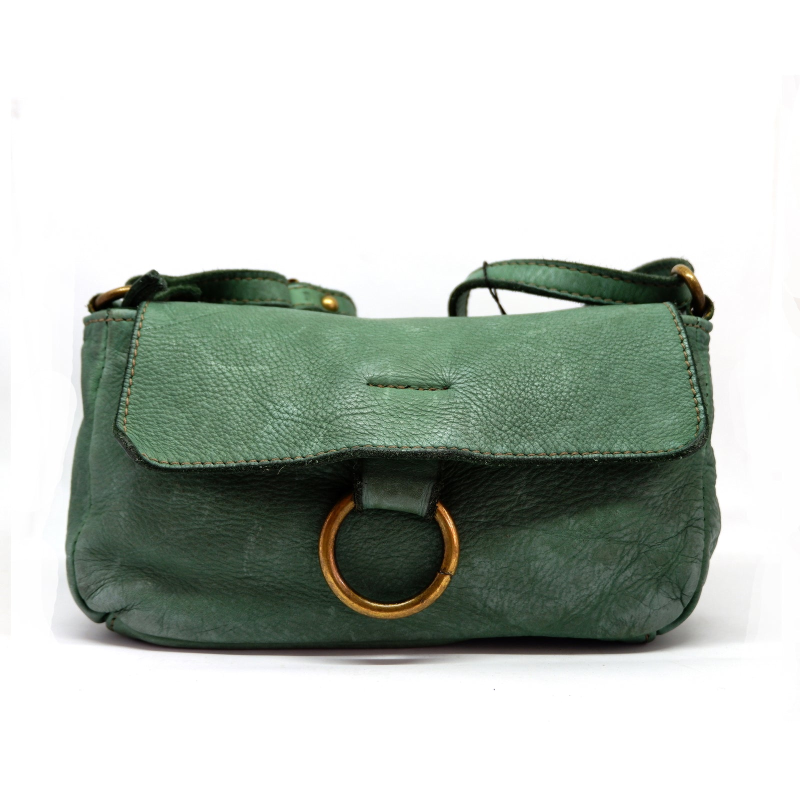 Cross Body Leather Bag Green