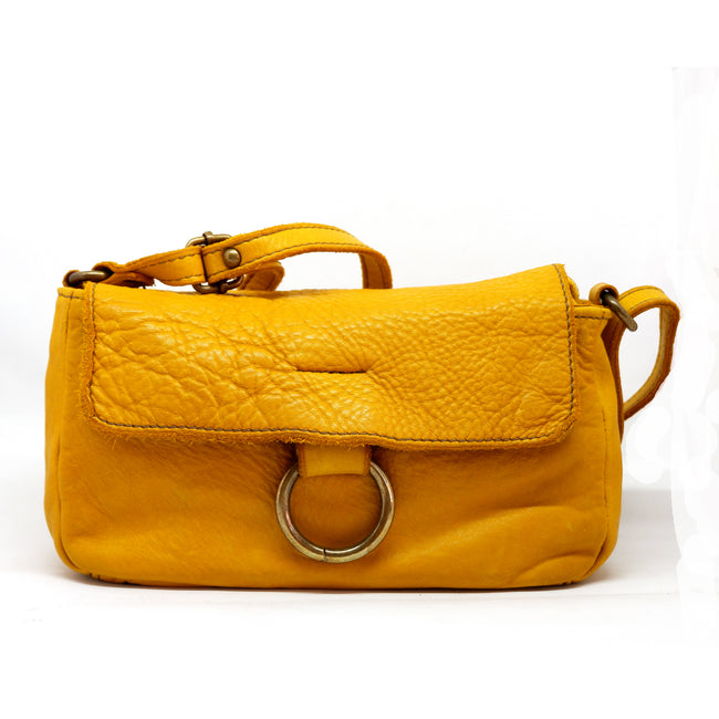 Cross Body Leather Bag Yellow