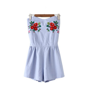 Embroidered Tube Romper