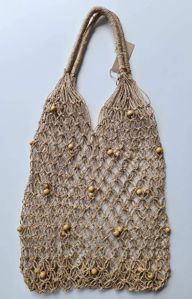 Seagrass Woven Tote with Natural Beads - SAGE Living & Homewares