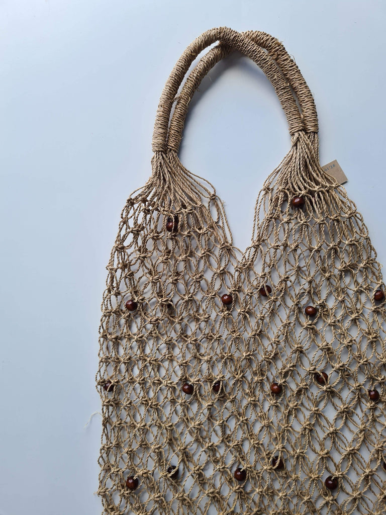 Seagrass Woven Tote with Brown Beads - SAGE Living & Homewares