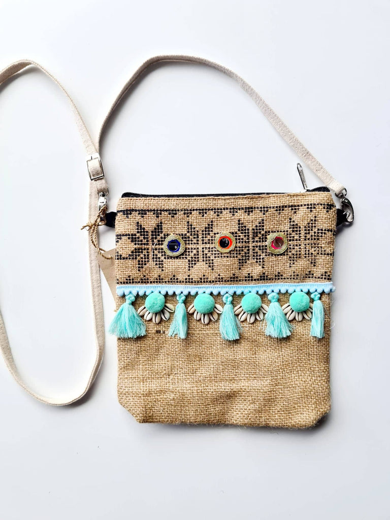 Hessian Crossover Bag - SAGE Living & Homewares