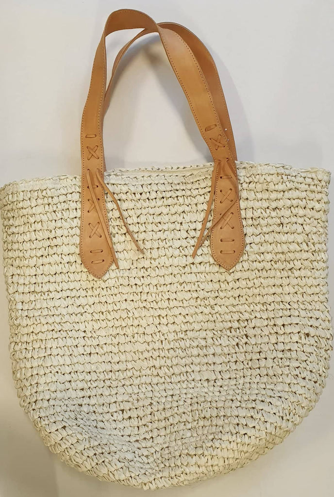 Seagrass Beach Bags with Leather Handles - SAGE Living & Homewares
