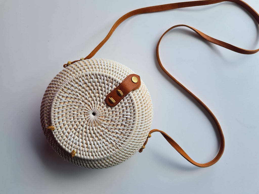 Atta Bag Round with Dome Front, White with Batik Lining - SAGE Living & Homewares
