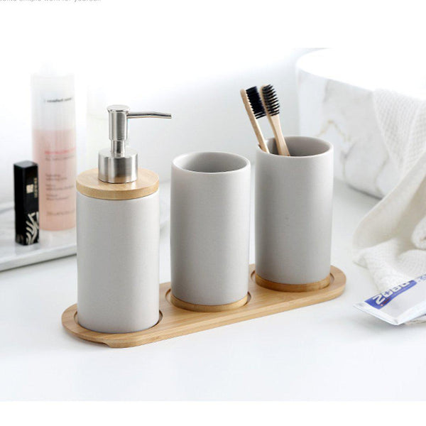 4 Piece Matte Ceramic Bathroom Set
