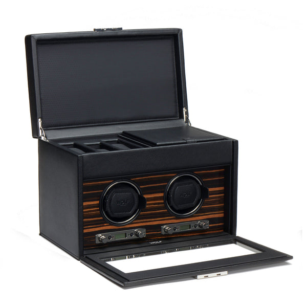Monochrome Watches Shop | Wolf Roadster Double Watch Winder with Storage
