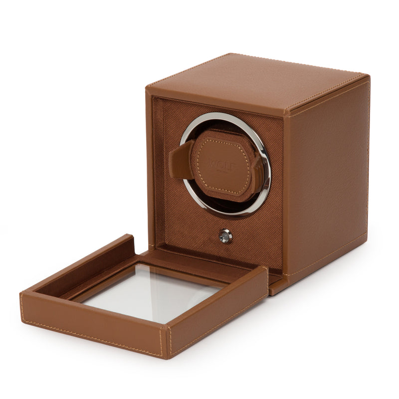 Monochrome Watches Shop | Wolf Cub Single Watch Winder Cognac