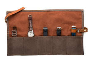 Brown - Canvas Watch Roll
