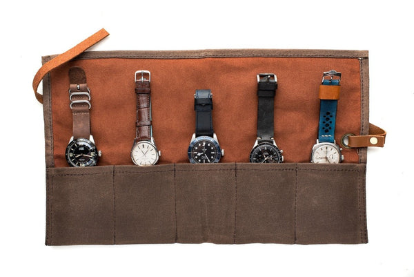 Monochrome Watches Shop | Canvas Watch Roll - Brown