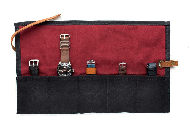 Black - Canvas Watch Roll